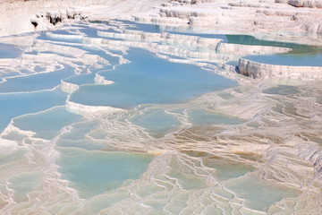 Travertine pools and terraces at Pamukkale, Turkey