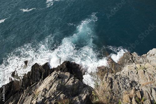 Cliffs in Manarola.   Cinque Terre, Liguria, Italy