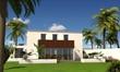 3d villa mit flachdach