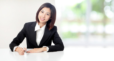 Business woman smile working at office