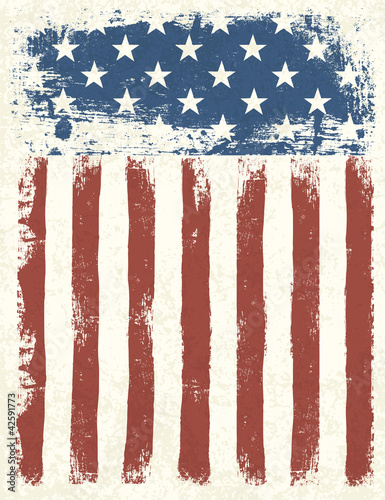 Grunge American flag background. Vector illustration, EPS 10.