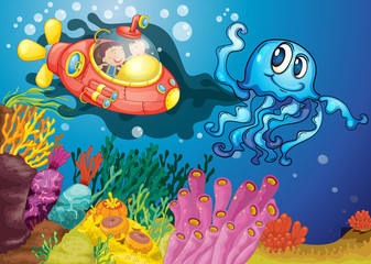 octopus and kids in submarine