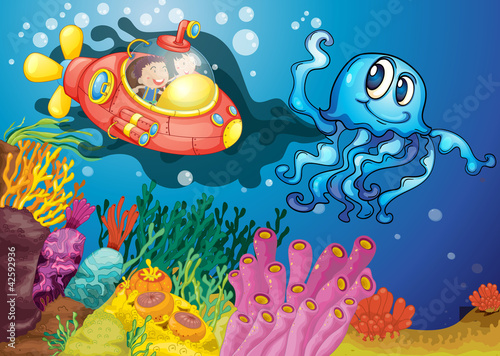 Poster Onderzeeer octopus and kids in submarine