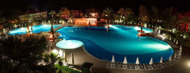 panorama of pool at night