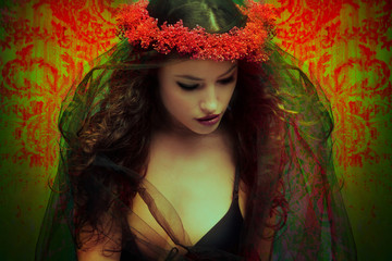 fantasy woman with wreath of flowers