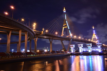 Bridge at night in Bangkok