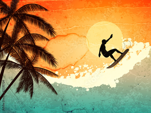Surfer, palms and sea