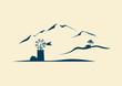 Mallorca mit Windmühle und Bergen