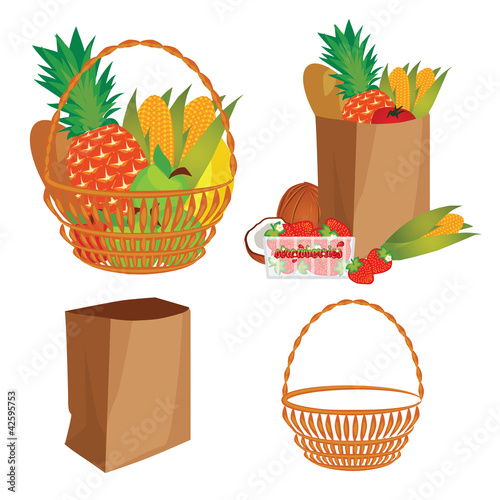 vector of a basket of food