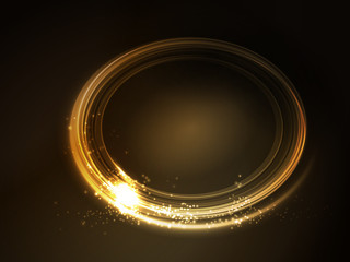 Golden glowing oval frame
