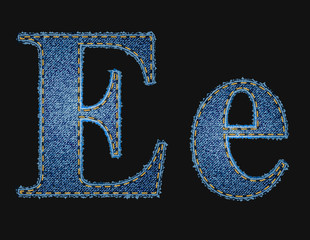 Vector jean fabric letters