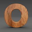 3d Font Wood Character O