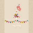 Flying Bird 10 Cupcakes Festoons Retro Colors Beige Dots