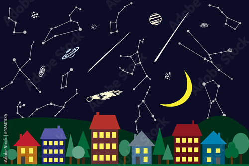 Illustration of night sky above the city