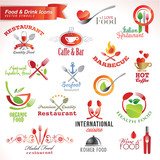 Fototapety Set of food and drink vector icons