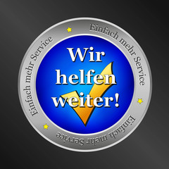 wir helfen button, metallic vektor