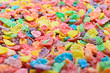colorful cereal close up