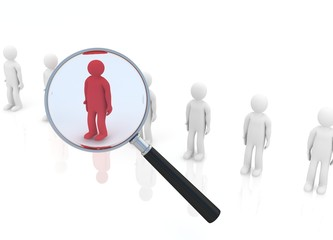 magnifying glass hovers over unique red man.