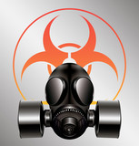 black gas mask with biohazard symbol - vector