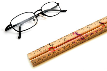 Old Ruler and Glasses for Education