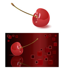 Cherry and abstract background. Vector illustration