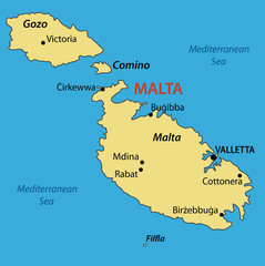 Republic of Malta - vector map