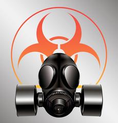 black gas mask with biohazard symbol - vector