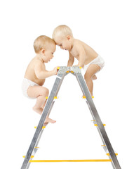 babies climbing on stepladder and fighting for first place