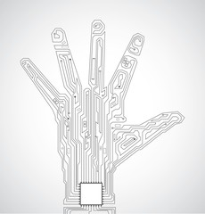 Circuit board pattern in the shape of hand palm