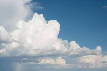 Puffy clouds and blue sky