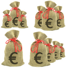 Bags of money with Euro currency on a white background