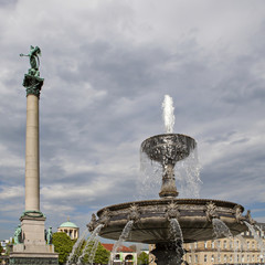 Fountain and Victory Column at Square Schloßplatz, Stuttgart, G