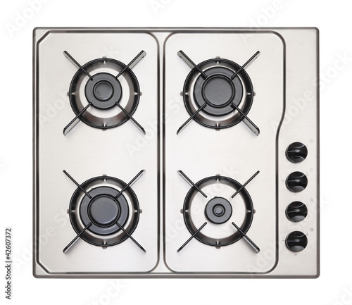 Stainless steel gas hob isolated on white