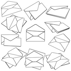 Set of open Envelopes