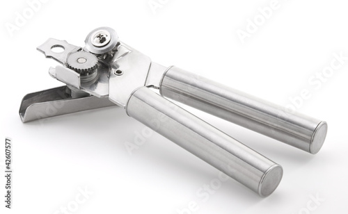 Stainless steel can opener isolated on white background