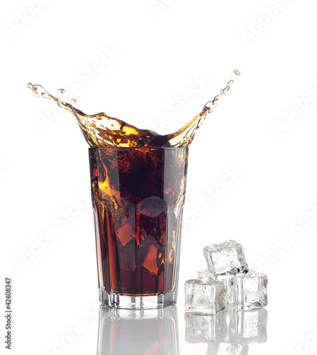 splash in glass of cola with ice cubes