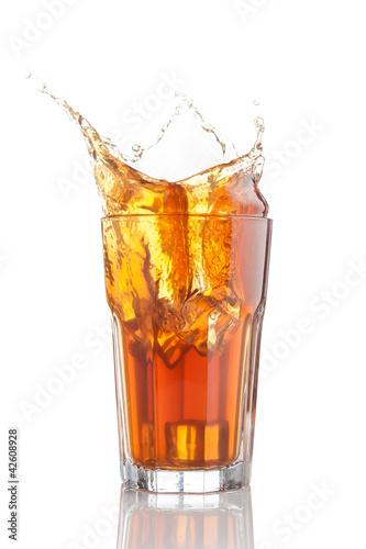 splash of iced tea isolated