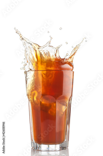 splash of iced tea isolated