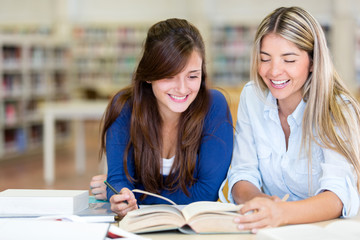 Students at the library