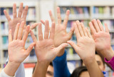 Students raising their hand