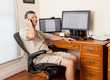 Senior male working in home office