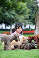 Asian kid playing with dogs