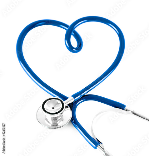 stethoscope in shape of heart concept. blue color.