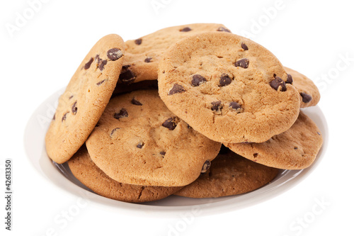 Plate of chocolate chip cookies isolated on white