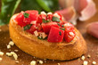 Crispy Italian antipasto, Bruschetta with tomato and garlic