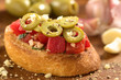 Crispy antipasto, Bruschetta with tomato, olives and garlic