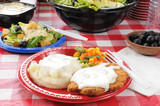 Summer picnic with chicken fried steak