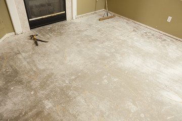 Concrete House Floor with Broom Ready for Flooring Installation
