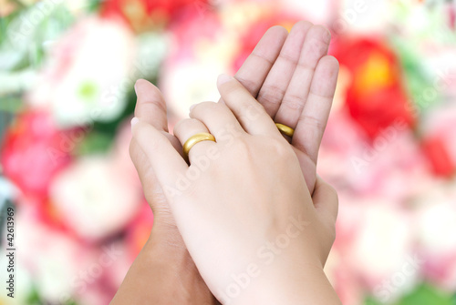 Two hand touch for love concept.