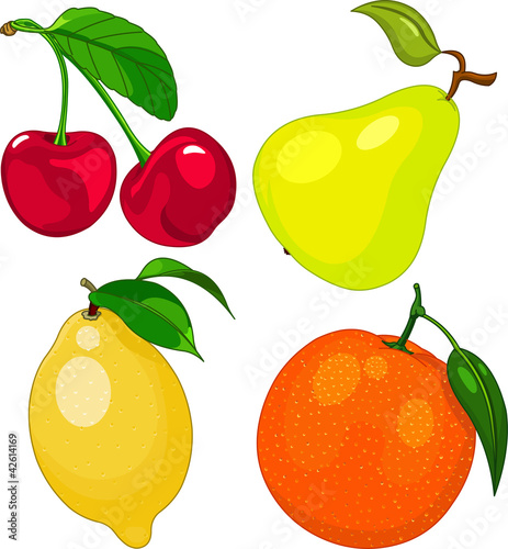 卡通水果盘矢量